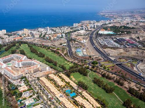 Fotobehang Beige Aerial view of the south side of the Tenerife Island, including playa de las americas