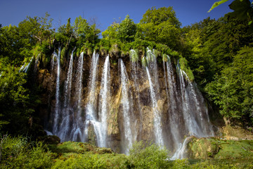 Beautiful waterfall in Plitvice Lakes National Park. Croatia