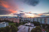 Beautiful Colorful Sunset over Housing Estate. Petrzalka, Bratislava, Slovakia.