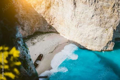Aluminium Schipbreuk Navagio beach Zakynthos with shipwreck in the warm morning light. Greece