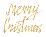Merry Christmas hand written lettering in gold colour on white background. scribble effect. vector illustration EPS 10.