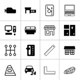 Set of 16 front filled and outline icons - 215564709