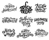 Halloween icons with greeting wishes lettering - 215583582