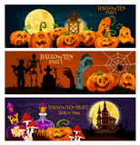 Halloween holiday zombie night party banner design - 215583588