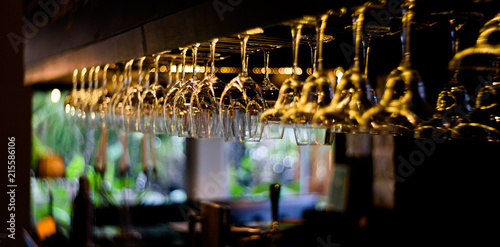 Empty glasses wine in restaurant, Glass water, campaign glass - 215586106