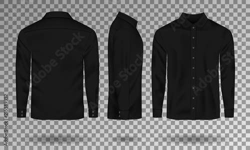 Blank Male Black Shirt Template Realistic Men With Long Sleeves Front Side