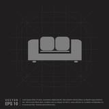 Sofa Icon - Black Creative Background