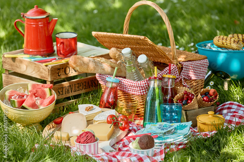 Foto Murales Country barbecue or picnic in a spring meadow