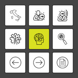 maps , world , emlpoyee , corporate , gear  , robot , search , left , right , document , 9 eps icons set vector