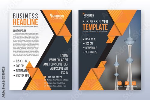 Sticker Modern business annual report template. Multipurpose flyter background