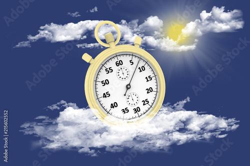 Cronografo Oro Isolato Su Sfondo Di Cielo E Nuvole Buy Photos