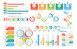 Vivid collection of various infographic informative templates with charts and labels isolated on white background