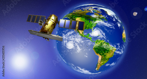 Aluminium Nasa Space satellite orbiting the earth. Elements of this image furnished by NASA