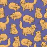 Red Cat Seamless Pattern