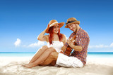 Summer time on beach and two lovers.  - 215607110
