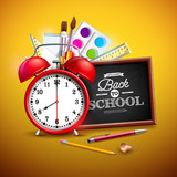 Back to school design with graphite pencil, pen and other school items on yellow background. Vector illustration with red alarm clock, chalkboard and typography lettering for greeting card, banner