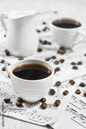 Coffee on note sheets