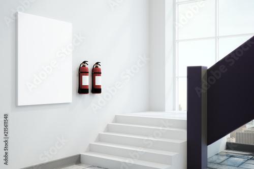 Leinwandbild Motiv White interior with fire extinguishers