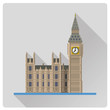 Big Ben at London, England, flat design long shadow vector illustration