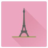 Eiffel Tower at Paris, France flat design long shadow vector illustration