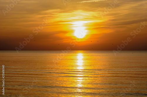 Foto Spatwand Honing Beatiful sunset in the baltic sea