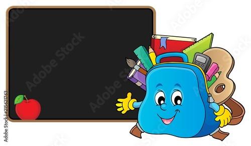 Canvas Voor kinderen Happy schoolbag topic image 2