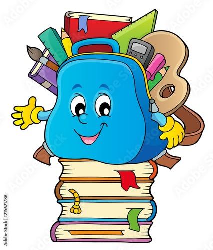 Canvas Voor kinderen Happy schoolbag topic image 3