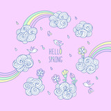 Hello spring. Set of cute elements for kids design. - 215623191