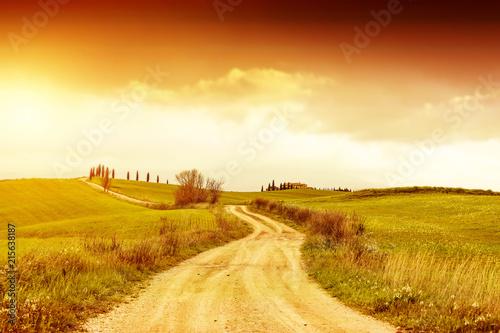 Leinwandbild Motiv Autumn background of Tuscany