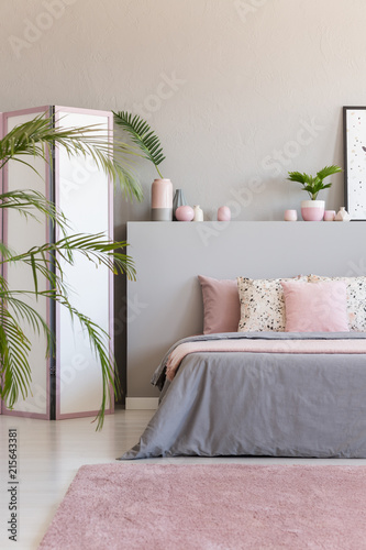 Pink Carpet In Front Of Grey Bed With Cushions Bedroom Interior Screen And Plants