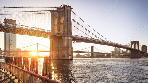In de dag Brooklyn Bridge New York city, USA by the Brooklyn Bridge at sunrise.