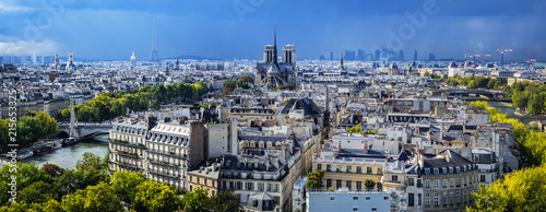 Paris aerial view before the storm. France. - 215653325
