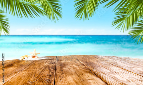 Desk of free space and summer beach  - 215658107