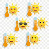 Funny Sun Face Smileys Weather Icons Transparent - 215658327