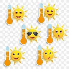 Funny Sun Face Smileys Weather Icons Transparent © Alexander Limbach