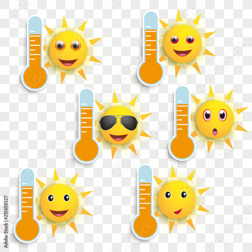 Foto Spatwand Hoogte schaal Funny Sun Face Smileys Weather Icons Transparent