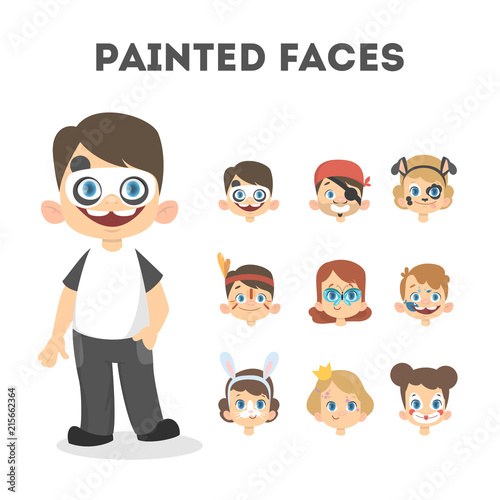 Set of happy children portraits with painted faces