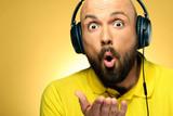 Yellow man studio portrait - 215664710