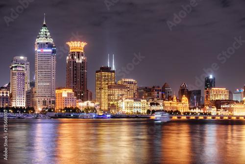 Foto Murales Amazing night view of Puxi skyline in Shanghai, China