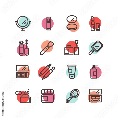 Beauty and makeup icon set. Vector illustration colorful cosmetic line icons with makeup mirror, lipstick, eyeshadows, brush, cream, mascara, perfume, powder, nail polish, foundation, lip pencils © Yelyzaveta