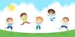Jumping kids illustration