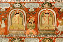 """Постер, картина, фотообои """"Ancient worshiping Buddha on fresco of the 14th century temple. Sri Lanka painting."""""""