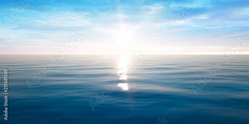 Leinwandbild Motiv Sonnenuntergang am Meer mit leichten Wellen