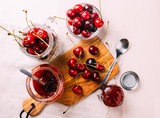 Top view of homemade cherry marmalade preparation, sweet food - 215685540