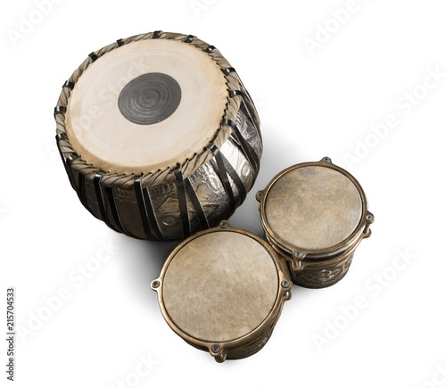 Water Drum with Two Djembe Bongo - Isolated - 215704533