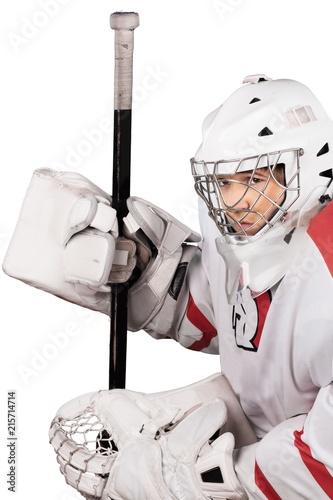 Ice Hokey Goalie, Back View, Isolated
