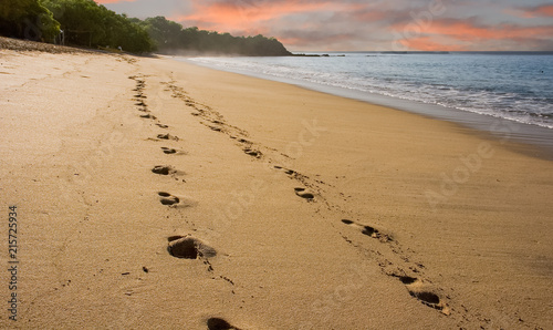 Ślady na plaży wczesnego poranka