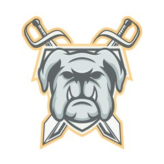 Bulldog vector mascot logo design sport illustration animal emblem isolated head © manjava