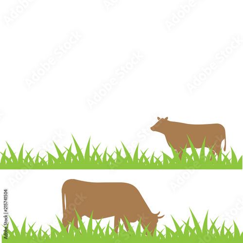 Aluminium Boerderij Cow on the field illustration