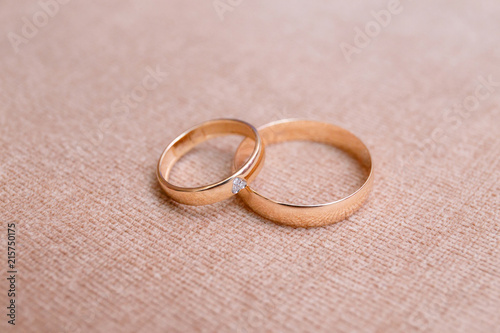 Two Beautiful Wedding Rings On Cloth Background Close Up Buy